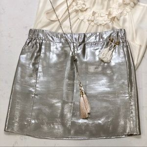J. Crew Metallic Silk Mini Skirt
